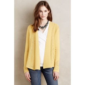 Rosie Neira Nansen Pointelle Yellow Open Cardigan